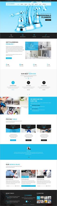 Plombiers is a professional #Photoshop #template for #plumber, #handyman and repair services agencies website download now➩ https://themeforest.net/item/plombiers-plumber-repair-services-psd-template/18629966?ref=Datasata