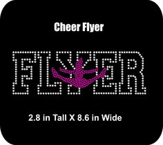 Rhinestone Bling Iron-on Shirt Applique  - Cheer/Cheerleading/Bling -Cheer Flyer-   Rhinestone T-shirt Transfer  - Bling DIY - pinned by pin4etsy.com