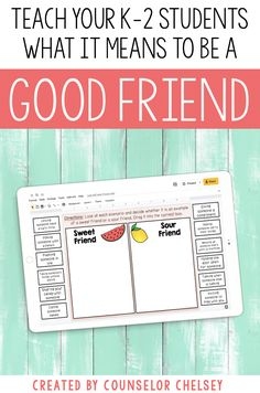 Help your K, 1st, and 2nd grade students learn what it means to be a good friend. These friendship activities include worksheets, activities and posters to help students learn about qualities of a healthy friendship. There is also a Google Slides component which makes this resource great for distance learning. Use the activities in your individual, small group or classroom school counseling lessons focused on friendship or social skills. Friendship Lessons, Friendship Activities, Sorting Games, Social Skills Lessons, Presents For Best Friends, Little Learners, It's Meant To Be, School Counseling, Student Learning