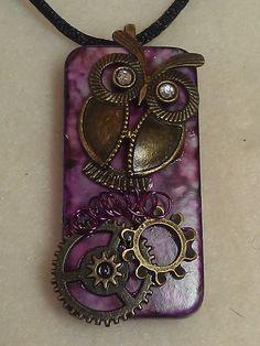 Steampunk Owl Domino Necklace Pendant. $10.00, via Etsy.