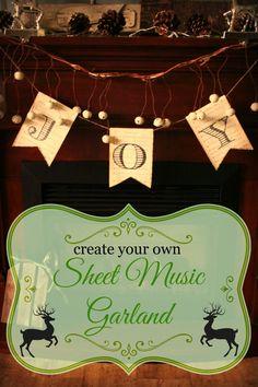 DIY Christmas Banner - Sheet Music Garland