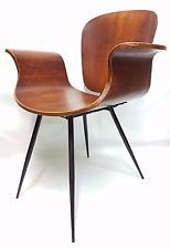 rare vintage italian curved plywood chair 60's medea style - armchair chairs