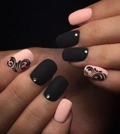 Matte Black and Pink Nails with Rhinestone and Lined Design