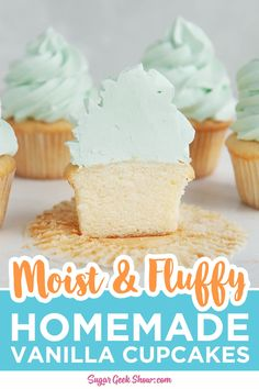This easy vanilla cupcake recipe from scratch makes a cupcake that is light, fluffy and has a perfect dome. The best way to make your cupcakes moist and tender is by adding a little oil and buttermilk. Buttermilk is acidic and actually breaks down the gluten in the flour, for a more tender cupcake.You can pair it with a simple buttercream icing, with chocolate frosting, or my favorite, homemade cream cheese frosting. #fromscratch #vanillacupcakes #moist #best #recipe #homemade Fluffy Vanilla Cupcake Recipe, Mini Cupcake Recipes, Homemade Vanilla Cupcakes, Vanilla Frosting Recipes, Moist Vanilla Cupcakes, Cupcake Recipes From Scratch, Cupcake Flavors, Baking Cupcakes, Buttercream Icing