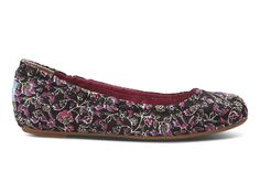 Black Floral Women's Ballet Flats #TOMS GIVE BACK TO SCHOOL CONTEST