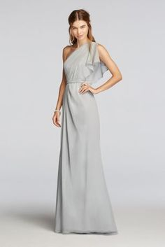 The flutter sleeve and embellished waistband define this goddess-inspired long chiffon bridesmaid dress. Wonder by Jenny Packham- Exclusively at David's Bridal. One shoulder, crinkle chiffon gown with soft split sleeve. Beaded waistband adds an element of sparkle. Fully Lined. Back Zipper. Imported. Dry Clean Only. Sizes and colors are available in limited stores and with limited availability. To protect your dress, our Non Woven Garment Bag is a must have!