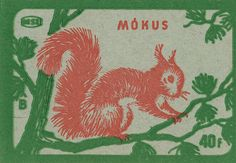 Hungarian matchbox label featuring a pink squirrel on green branches