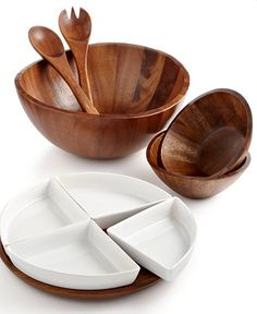 The Cellar Acacia Wood Collection:  Selected Items: - 5 Section Tray - 3 Piece Salad Set - Curved Chip & Dip - 2-tiered Server