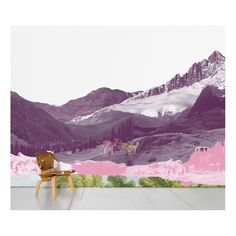 Scenic Wallpaper | Mont Rose | Pandarosa  [Scenic Wallpaper is a series of Contemporary and Monumental Decor design by Various Artists and Designers- Mountains, Deer, Pastels, Wallcovering]