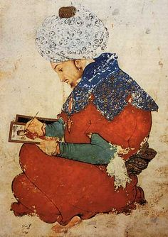 Iran/ Kuwait: 'Portrait of a Persian painter', a painting from Moghal India dated 1600 to 1625 CE. Asian History, Art History, Ancient Persia, Iranian Art, Islamic Art Calligraphy, Illuminated Manuscript, India, Persian, Oriental