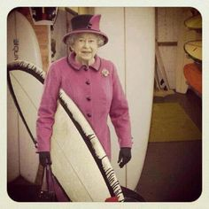 As the Queen celebrates 60 years on the throne, we saw this funny shot from Zeal Optics and wanted to share. Who knew the royal has roots in surfing :) Softball, Baseball, Save The Queen, Surf Outfit, Surfs Up, Queen Elizabeth Ii, Old Women, My Style, Spinning