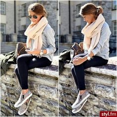 sneakers, black, jeans scarf