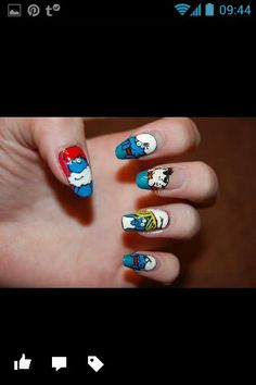 My smurf nails ♡♥♡♥♡ Favorite set I've ever done! Nail Care, My Nails, Beauty, Cosmetology, Nail Manicure, Nail Repair