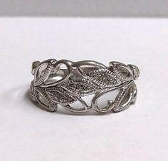 Solid 925 Sterling Silver Diamond Leaf Scroll Filigree Ring Size 7 RJ Graziano #RJGraziano