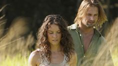 "Kate Austin (Evangeline Lilly) and James ""Sawyer"" Ford (Josh Holloway).  #LOST.-going throughout the jungle as usual"