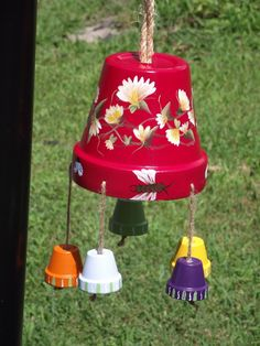 An adorable clay pot wind chime for inside or outside of your home! The wind chime is 19 inches tall from the rope edge to the…, Commercial-Retail -… Flower Pot Art, Clay Flower Pots, Terracotta Flower Pots, Flower Pot Crafts, Clay Pot Projects, Clay Pot Crafts, Diy Clay, Flower Pot People, Clay Pot People
