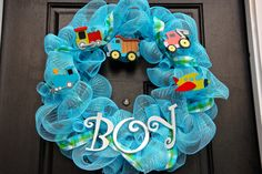 Baby Boy Deco Mesh Wreath.
