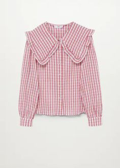Babydoll collar cotton shirt - Women | Mango USA Vichy Rose, Mango France, Shirt Blouses, Shirts, Gingham Check, Fashion Updates, Baby Prints, Fashion Days, Blouses For Women