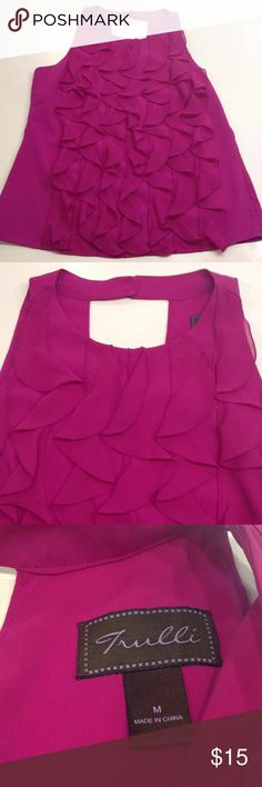 Trulli Fuchsia sleeveless blouse Chic sleeveless blouse with a ruffle front by Trulli. Plain back with two button closure at the neck. Trulli Tops Blouses
