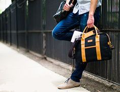 Kaehler's Chicago-made duffel.The Canvas Brief in black and wheat #chicago #canvas #breif
