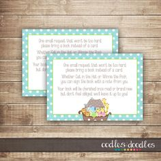 Bring a Book Insert Card / Noah's Ark Baby Shower / Baby Boy Shower, Sprinkle /Bring a Book instead of a Card - INSTANT DOWNLOAD - Printable by OandD on Etsy https://www.etsy.com/listing/190426411/bring-a-book-insert-card-noahs-ark-baby