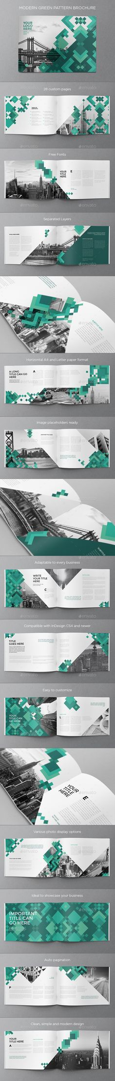Modern Green Pattern Brochure Template InDesign INDD. Download here: http://graphicriver.net/item/modern-green-pattern-brochure/15863364?ref=ksioks