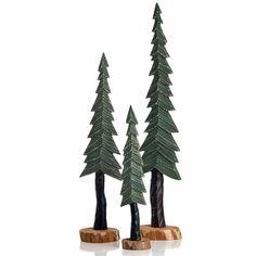 Glenna Jean Carson Wood Pine Trees Decor Set Of 3