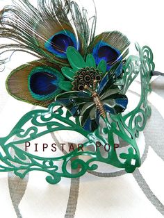 Forest Green Peacock feather Monarch Butterfly by PipStarPop