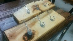 sugar maple coat racks for our clients at Interiors all set to go. The perfect entry way pieces adding function and a touch of organic design. Storage Shelves, Shelving, Coat Racks, Salvaged Wood, Sustainable Design, Butcher Block Cutting Board, Wood Furniture, Four Square, Gift Guide