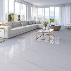 Living Room Tiles, Fancy Living Rooms, Home Room Design, House Tiles, Elegant Living Room Design, White Floors Living Room, House Floor Design, Marble Living Room Floor, Home Interior Design