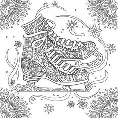 Freelance Projects Create a Figure Skating Themed Coloring Greeting Card by JhaJhas Animal Coloring Pages, Coloring Book Pages, Printable Coloring Pages, Christmas Coloring Sheets, Coloring For Kids, Christmas Colors, Colorful Pictures, Zentangle, Cards