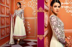 Gorgeous Girly Smart Off-white Long #AnarkaliSuit In Celebrity Style   #craftshopsindia