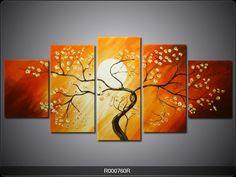 Foto reproductie schilderij Boom | Kleur: Geel, Oranje | R000760R
