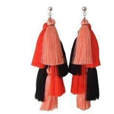 jenny jenny Coral Multi Tassel Earring (530 HRK) ❤ liked on Polyvore featuring jewelry, earrings, accessories, bijoux, earring jewelry, chain earrings, tassle earrings, vintage coral earrings and stud earrings