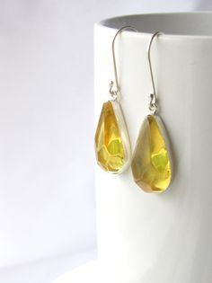 Mexican amber earrings ~ faceted drops