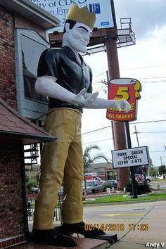 Muffler Man - A King  Metairie, Louisiana  King of the Muffler Men. Sporting Saints attire. Currently not standing due to Hurricane Isaac...he was decapitated