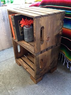 This Is The Cutest Hand Built Crate Night Stand! These Are Super Popular At  Our