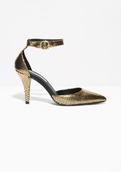 & Other Stories | Gilded Reptile Leather Pumps