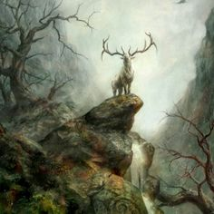 It is said he is a great white Stag, who protects the Forest and Animals.