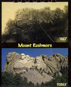 Mount Rushmore in 1927 | Mount Rushmore today.