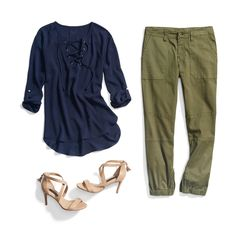 Stitch Fix: Wow, I never thought I would like pants like that, but I'm obsessed with this outfit. I love the juxtaposition of the colors and the casualness of the outfit with the very elegant sandals. But I'm not keen on the shoe-lace closure of neckline on the tee-shirt.