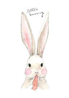 Fine Art Watercolor Original Illustration Print. Bunny. Eating Carrot. Rabbit.