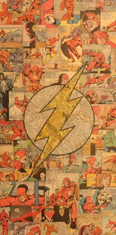 Flash Logo Comic Collage by Mike Alcantara The Flash, Flash Tv, Flash Arrow, Flash Wallpaper, Iphone Wallpaper, Supergirl, Comic Books Art, Comic Art, Flash Comic Book