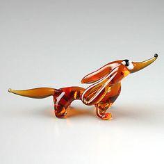 Dachshund miniature glass figurine