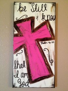 Cross+Paintings+On+Canvas | Be Still & Know that I am God pink Textured Cross by ClassyCanvas