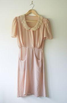 pale pink, lace, peter pan collar dress