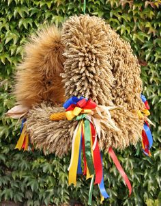 Tradional German Harvest Crowns // small villages compete at harvest time for the title of Best Harvest Crown. Materials are the wheat varieties grown in the region and colorful ribbons. Harvest Time, Modern Country, Germany, Thanksgiving, Traditional, Book, Altar Decorations, Harvest Party, Crowns