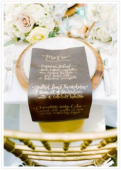 Pink Ink Paper leather menu calligraphy