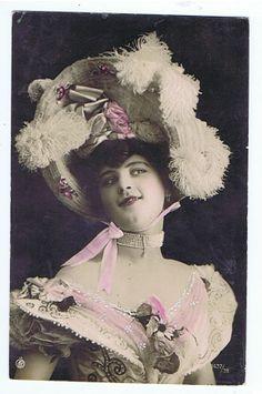 RPPC Tinted Postcard 1910s Woman Big Hat Flowers N 7437 38 | eBay