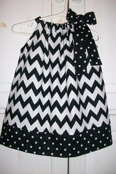 Pillowcase Dress CHEVRON Black White Dots by lilsweetieboutique